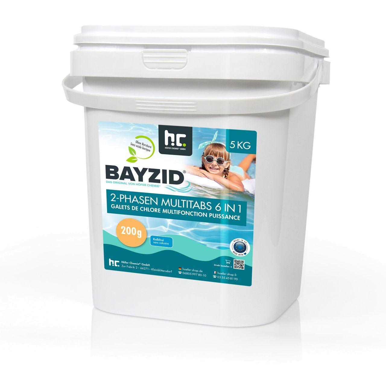 BAYZID 5 kg Galets de chlore biphase 6en1 (200g) (1 x 5 kg)