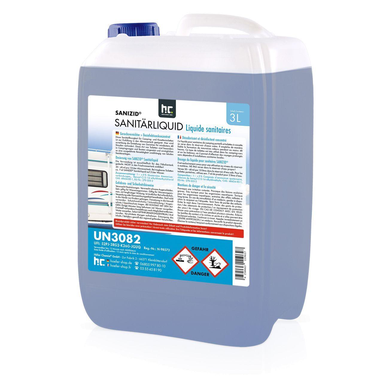 Sanizid 18 l Sanizid Liquide sanitaire pour les toilettes de camping (6 x 3 l)