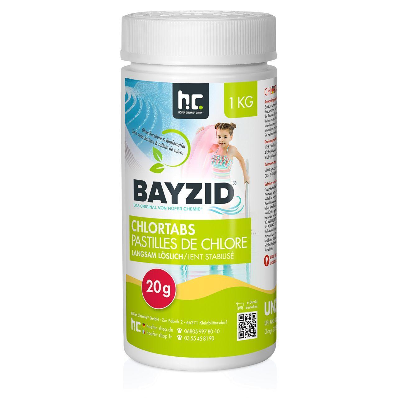 BAYZID 1 kg pastilles de chlore lent soluble 20 g (1 x 1 kg)
