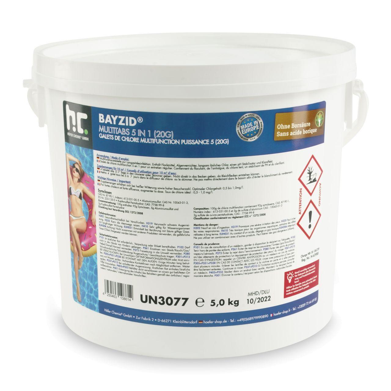 BAYZID 20 kg Bayzid® Pastilles de chlore multifonction (20g) (4 x 5 kg)