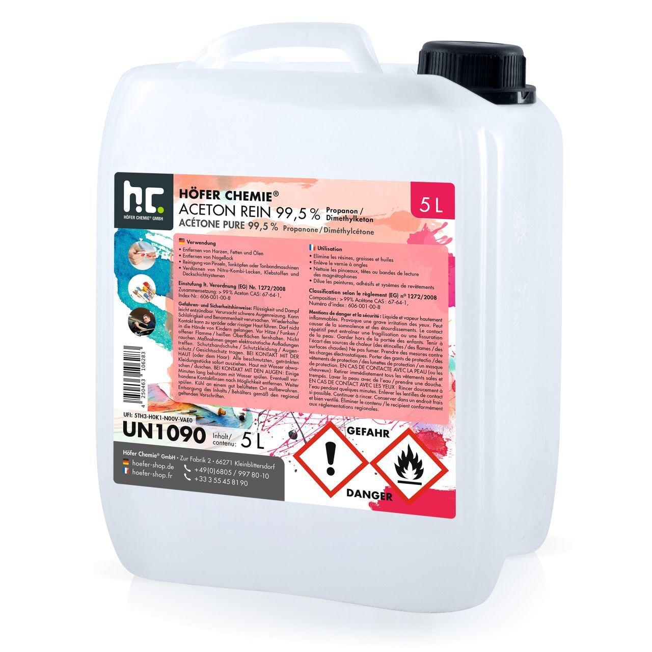 Höfer Chemie 20 l Acétone pur 99,5% (4 x 5 l)