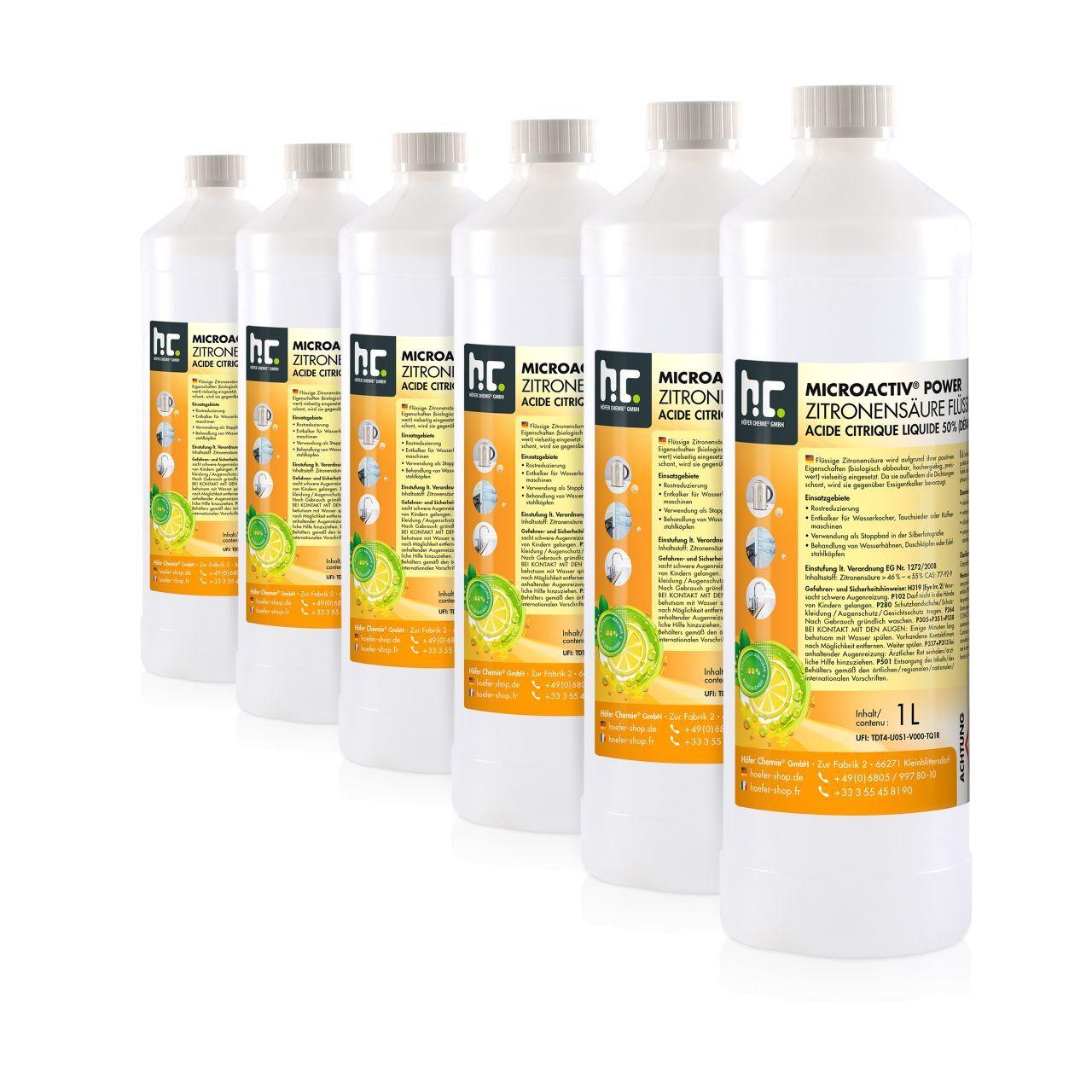 Höfer Chemie 6 l Acide Citrique Liquide 50% (6 x 1 l)