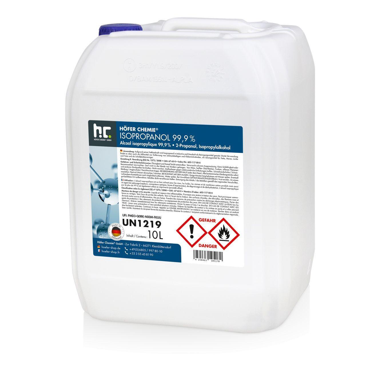 Höfer Chemie 60 l Alcool isopropylique 99,9 % (6 x 10 l)