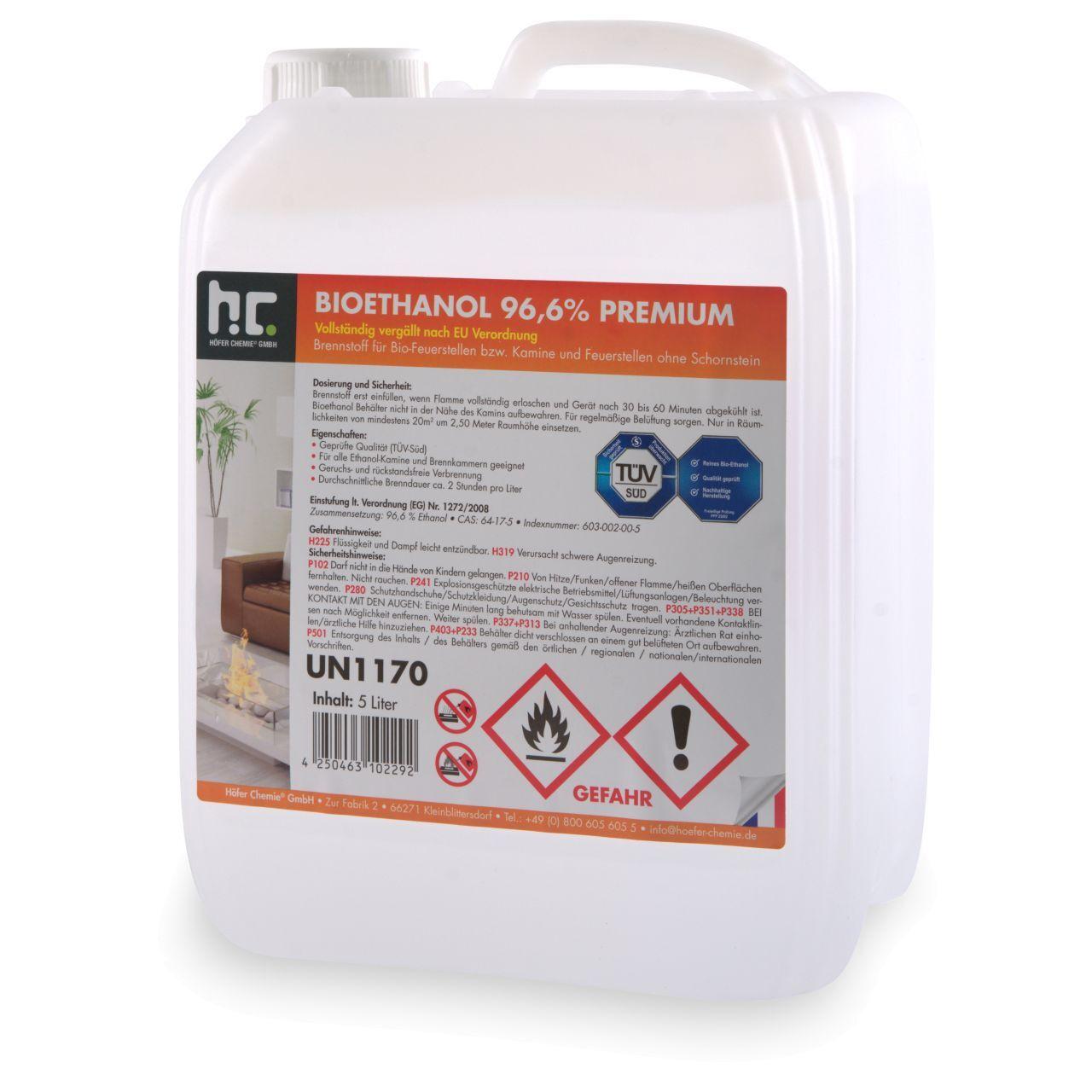 Höfer Chemie 5 l Bioéthanol à 96,6 % dénaturé en bidon de 5 litres (1 x 5 l)