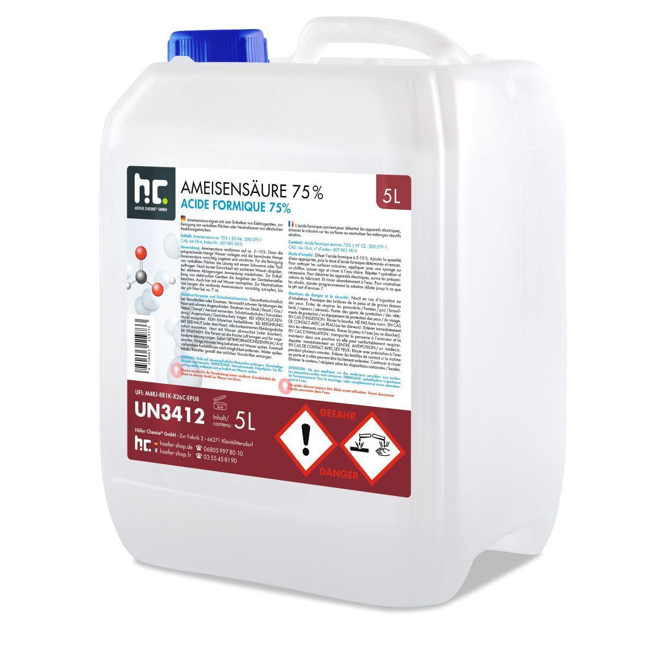 Höfer Chemie 10 l Acide formique 75% qualite technique (2 x 5 l)