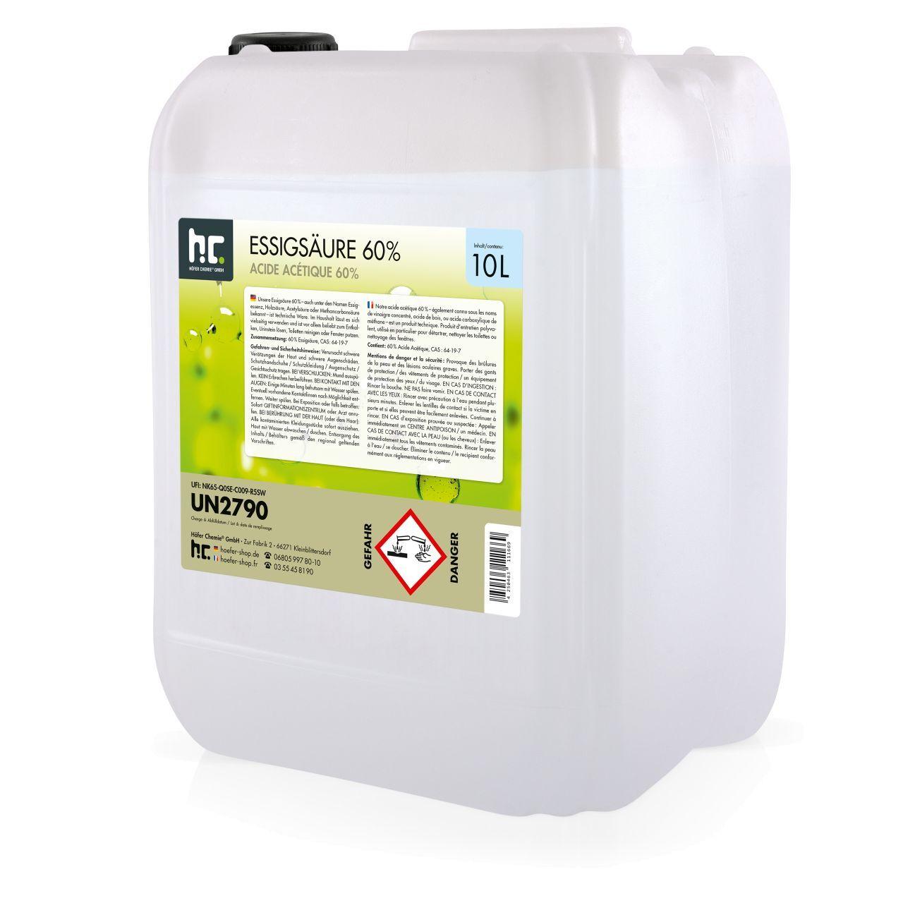 Höfer Chemie 40 l Acide Acétique 60% (4 x 10 l)