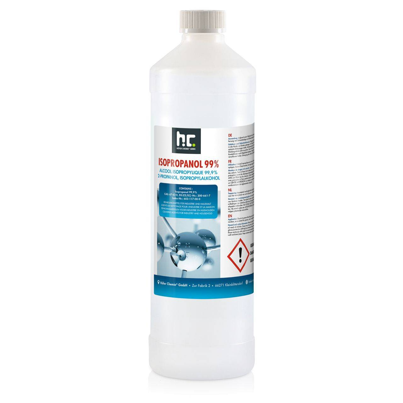 Höfer Chemie 3 l Alcool isopropylique 99,9 % (3 x 1 l)