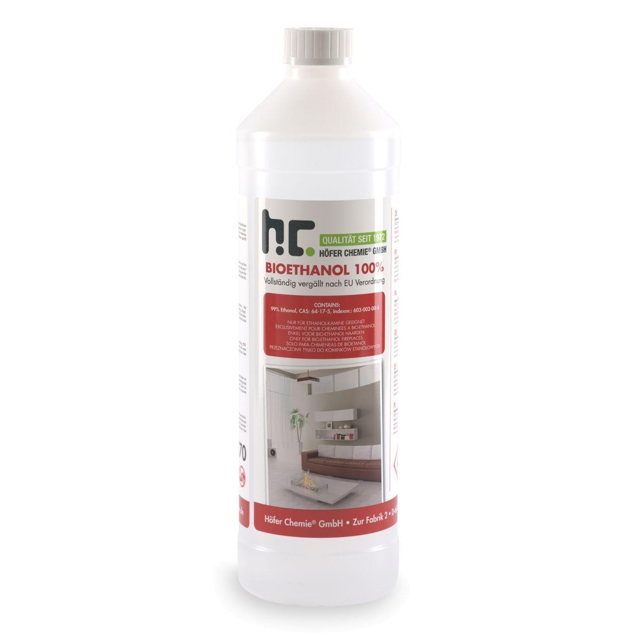 Höfer Chemie 1 l Bioéthanol à 100% dénaturé en bouteilles de 1 l (1 x 1 l)