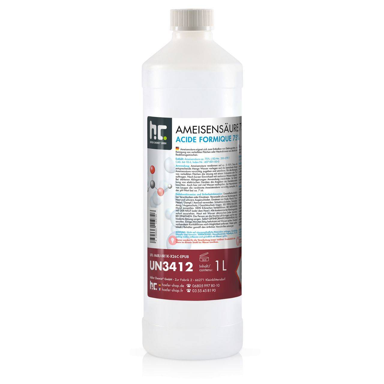 Höfer Chemie 6 l Acide formique 75% qualite technique (6 x 1 l)