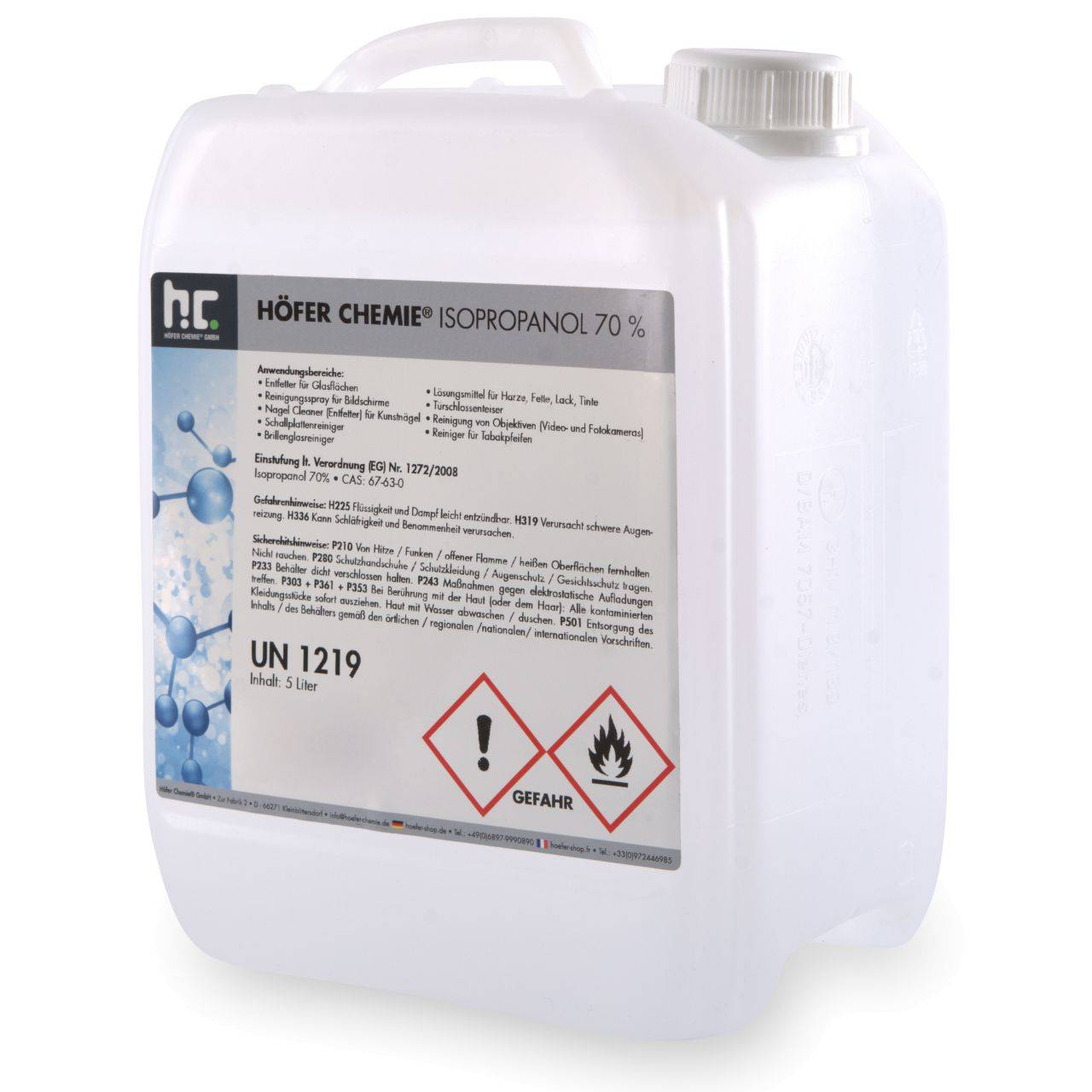 Höfer Chemie 10 l alcool isopropylique 70% (2 x 5 l)