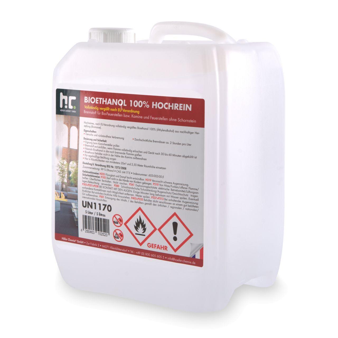 Höfer Chemie 5 l Bioéthanol à 100 % dénaturé en bidon de 5 litres (1 x 5 l)