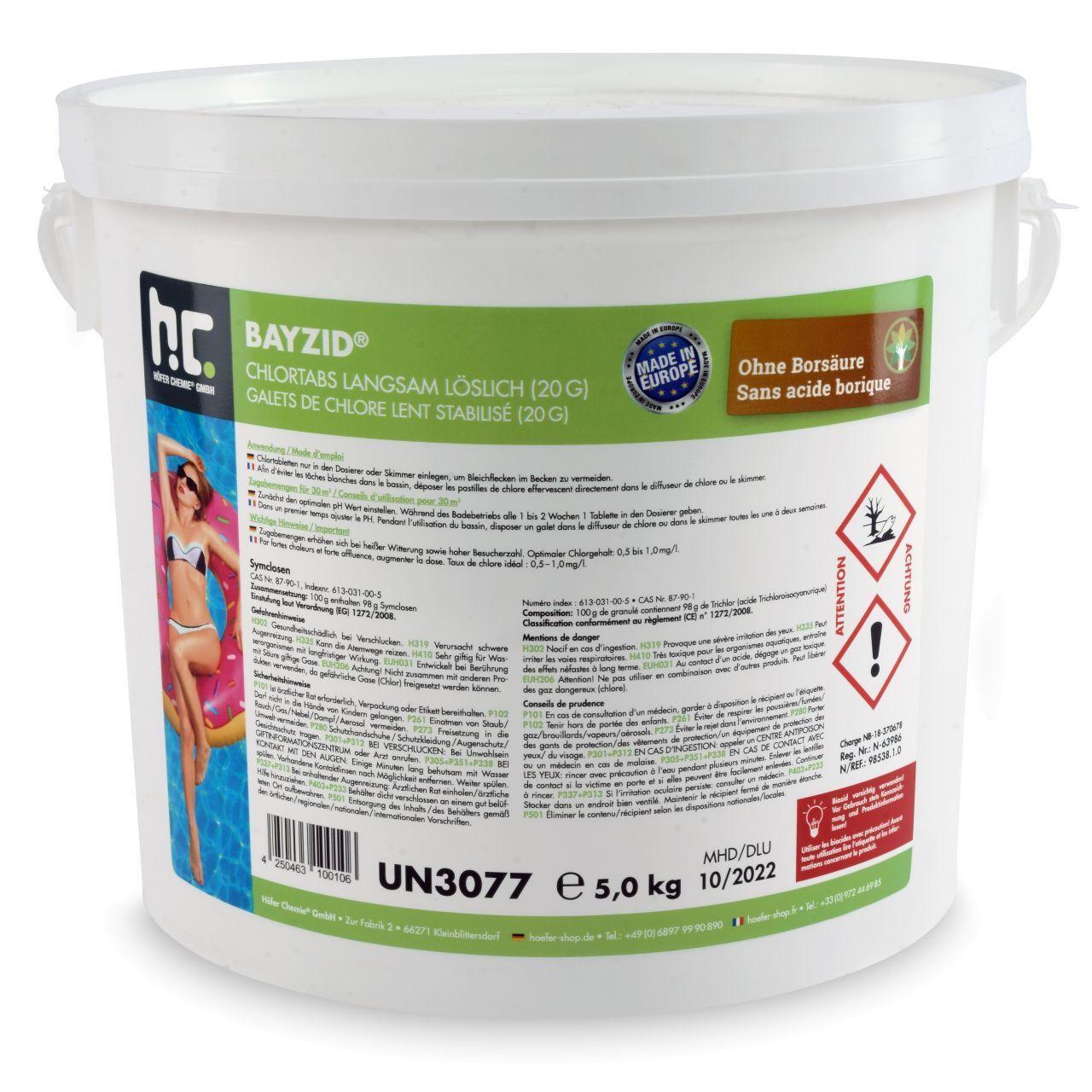 BAYZID 10 kg Bayzid® Pastilles de chlore lent (20g) (2 x 5 kg)