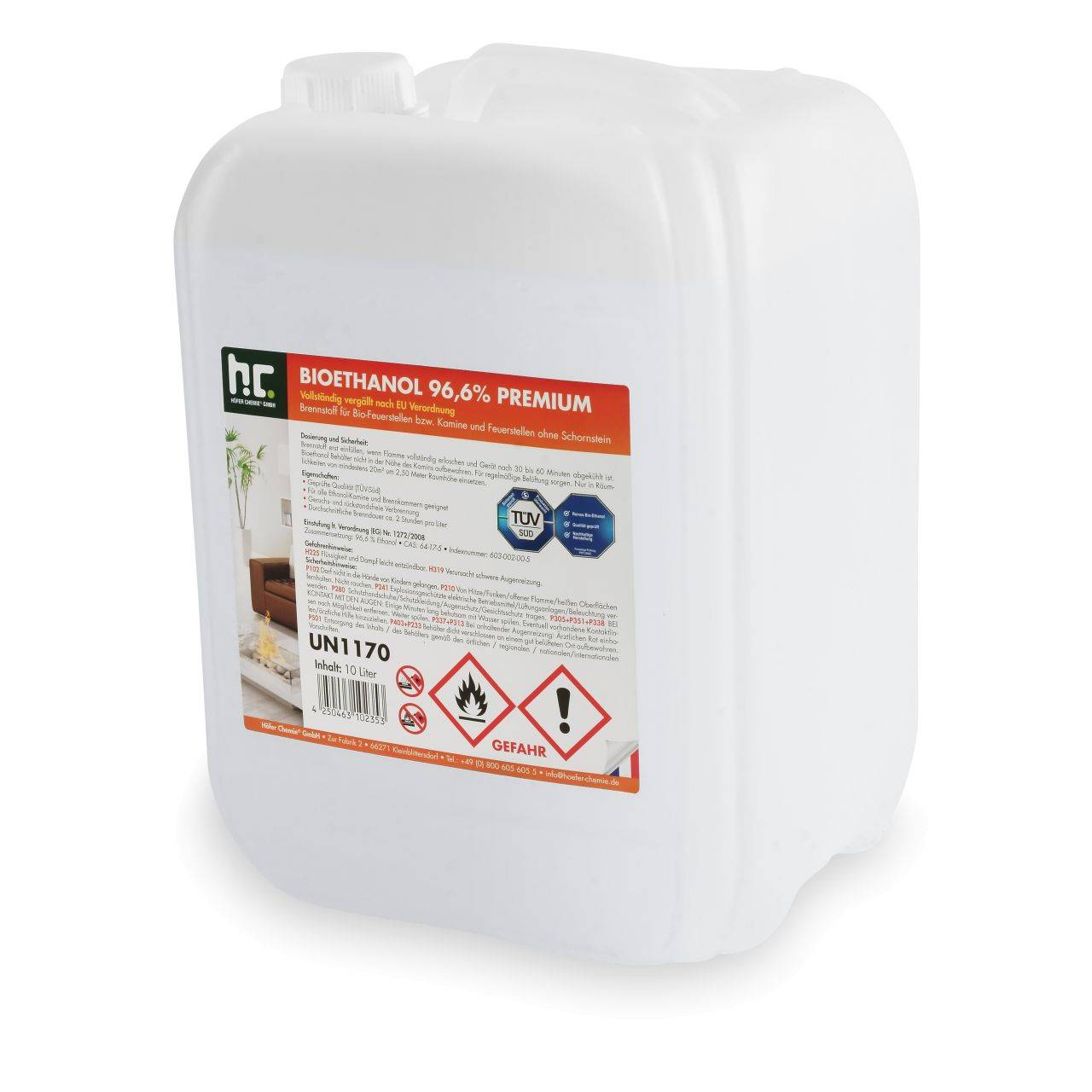 Höfer Chemie 120 l Bioéthanol à 96,6 % dénaturé en bidon de 10 litres (12 x 10 l)