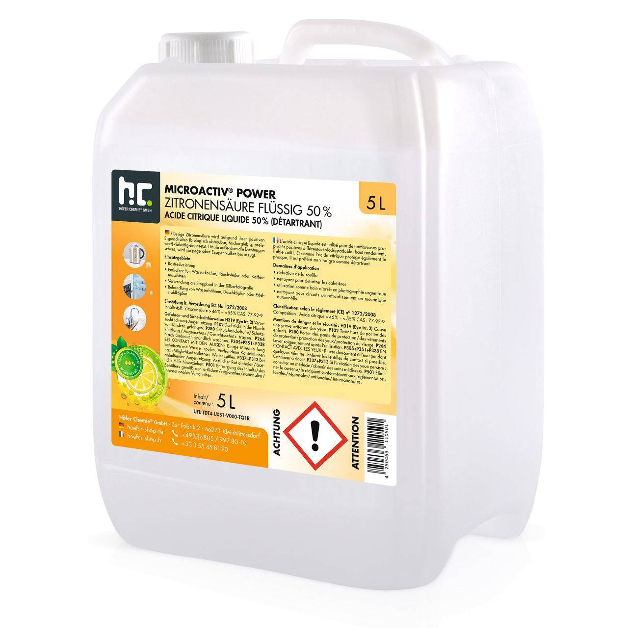 Höfer Chemie 5 l Acide Citrique Liquide 50% (1 x 5 l)