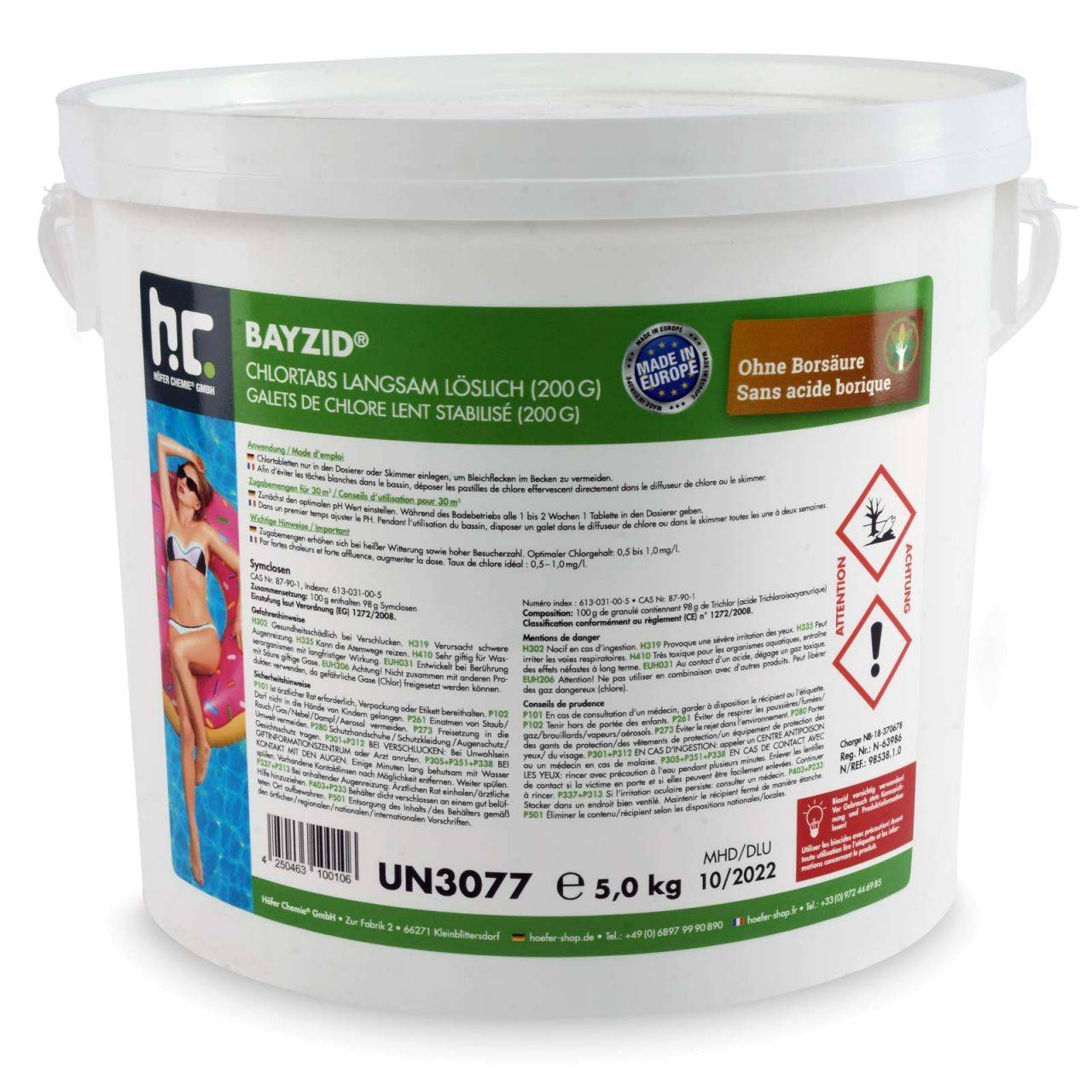 BAYZID 10 kg Bayzid® Galets de chlore lent (200g) (2 x 5 kg)