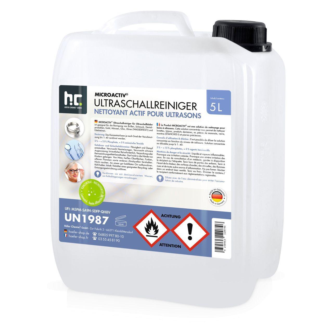 Höfer Chemie 5 l Microactiv® Produit detergent ultrason (1 x 5 l)