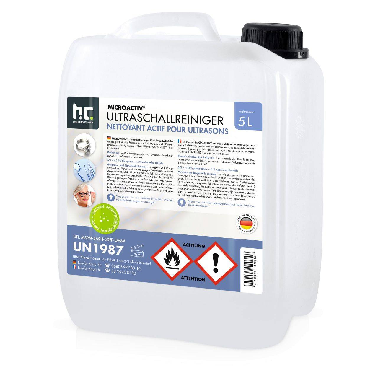 Höfer Chemie 20 l Microactiv® Produit detergent ultrason (4 x 5 l)
