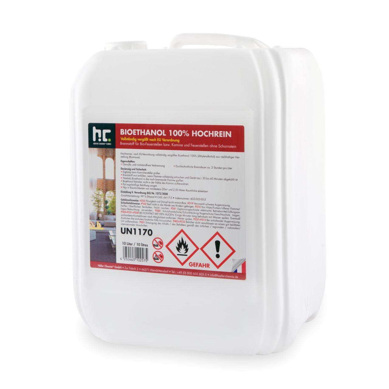 Höfer Chemie 150 l Bioéthanol à 100 % dénaturé en bidon de 10 litres (15 x 10 l)