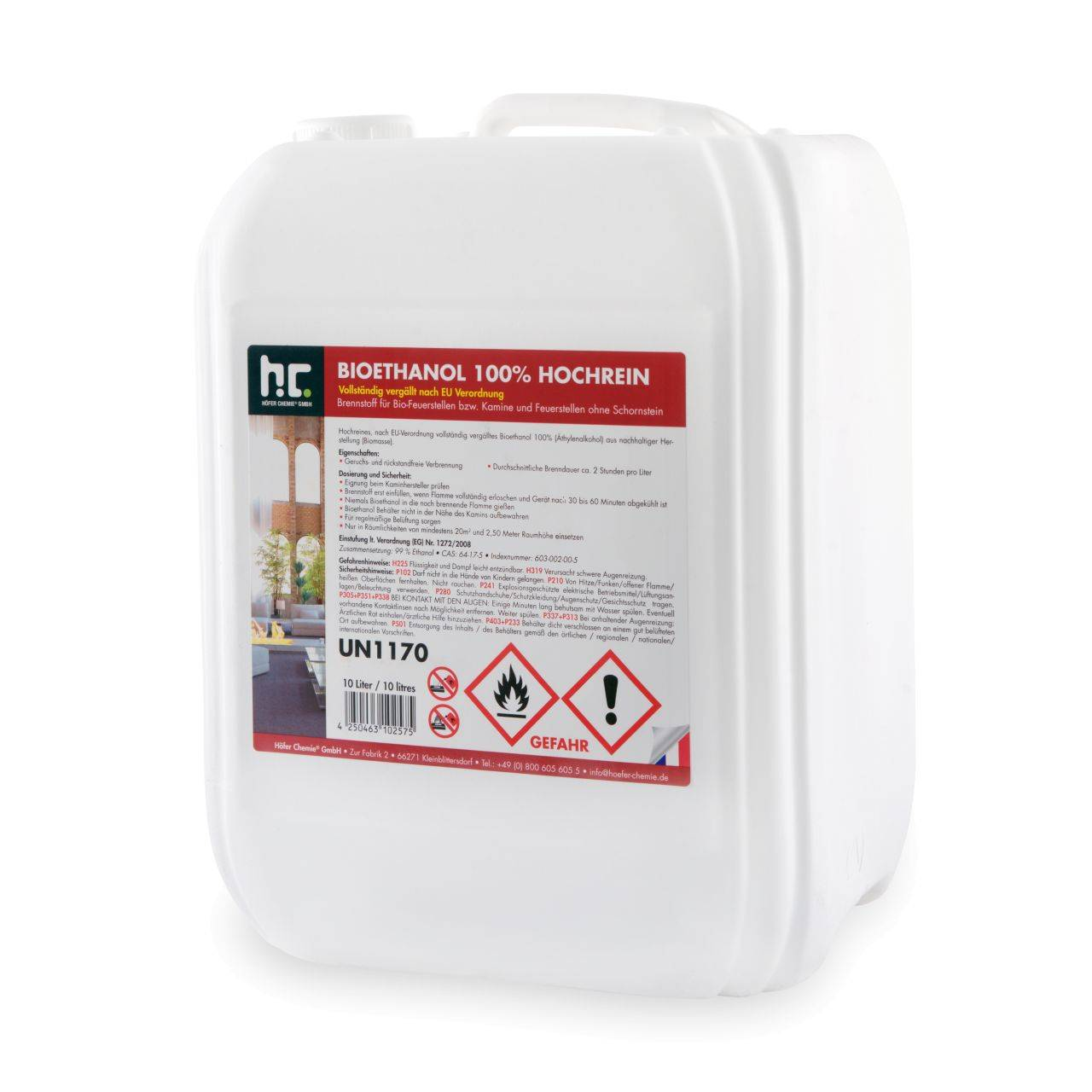 Höfer Chemie 10 l Bioéthanol à 100 % dénaturé en bidon de 10 litres (1 x 10 l)