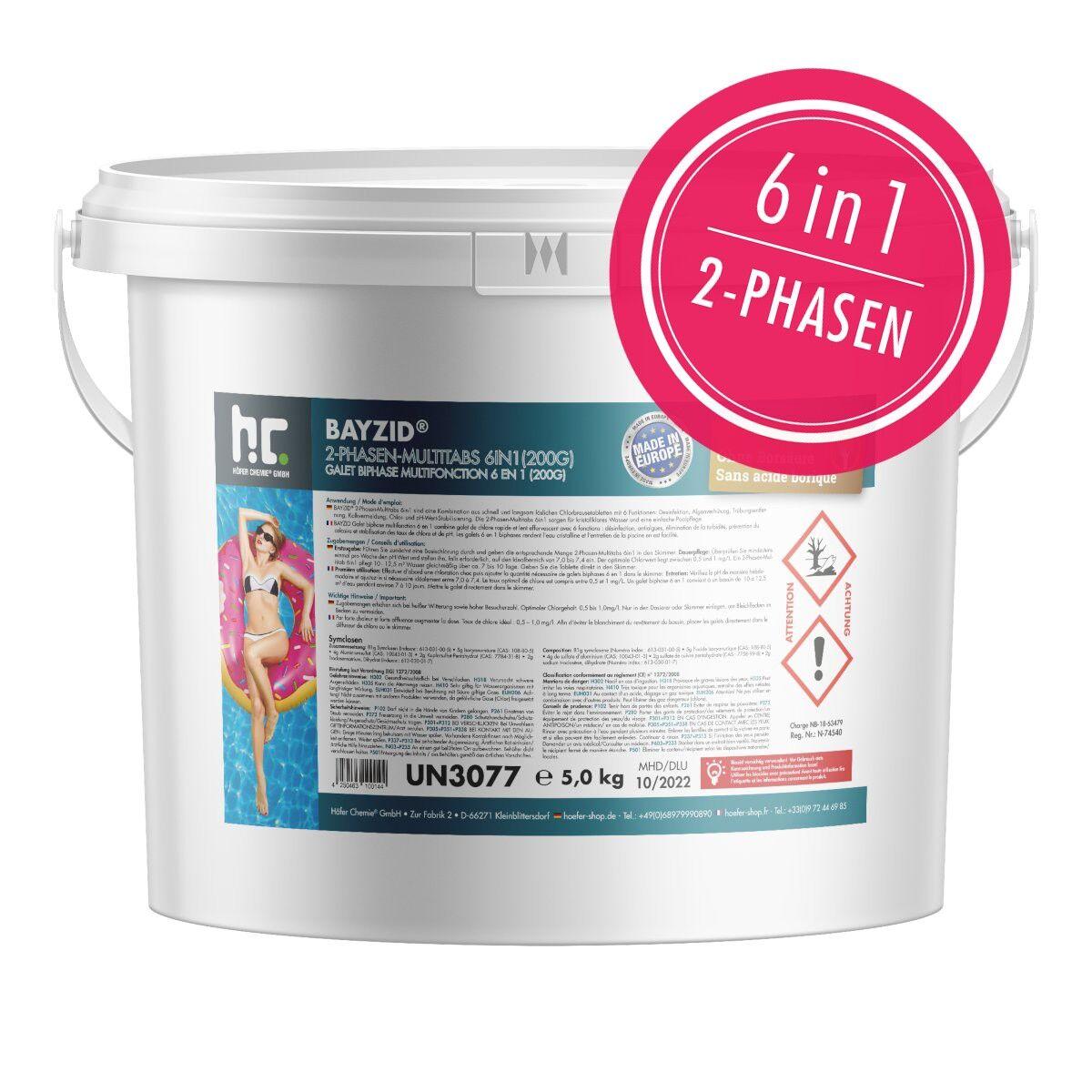 BAYZID 10 kg Galets de chlore biphase 6en1 (200g) (2 x 5 kg)