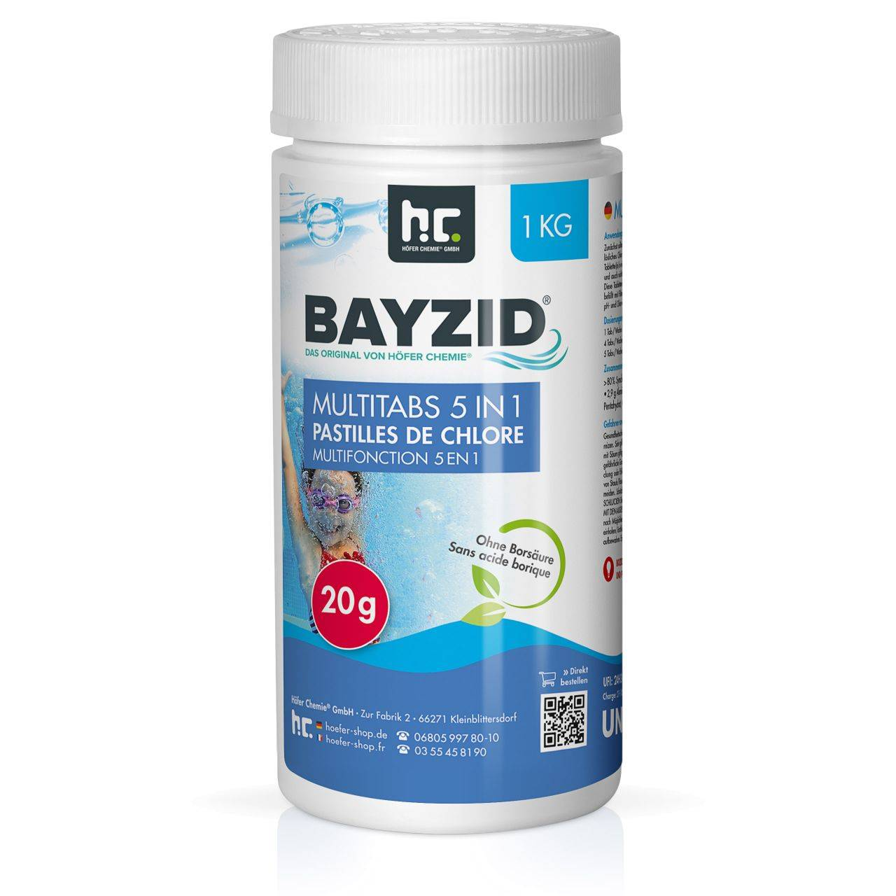 BAYZID 12 kg Bayzid® pastilles de chlore multifonction 20g 5 en 1 (12 x 1 kg)