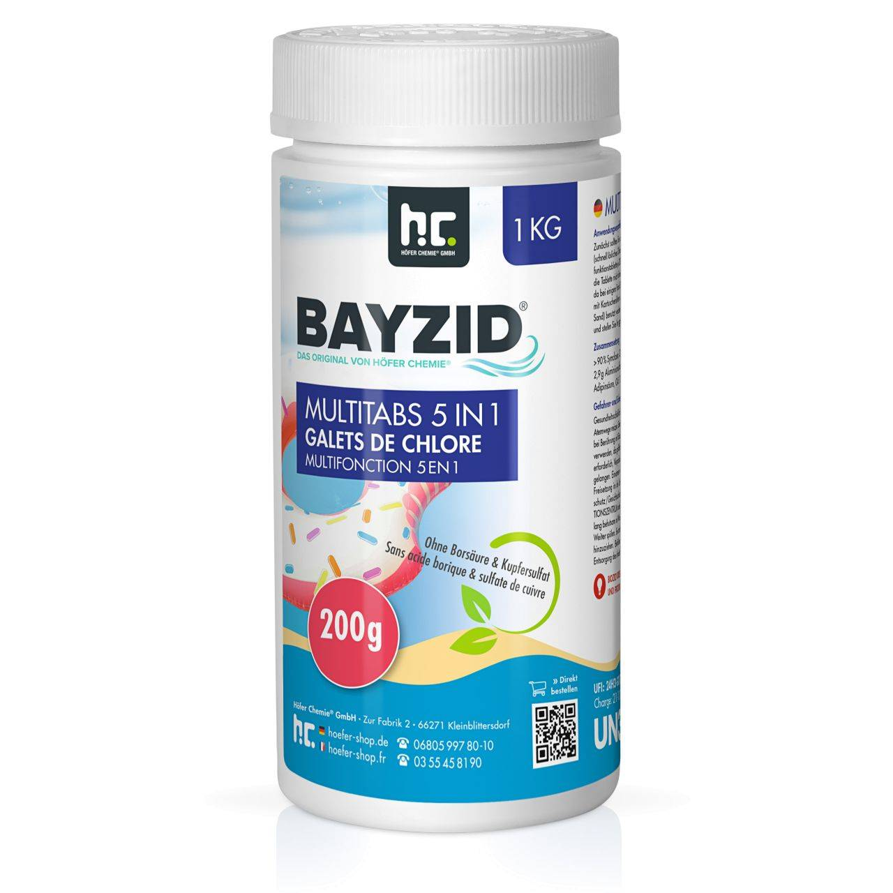 BAYZID 12 kg Galets de chlore multifonction (200g) (12 x 1 kg)