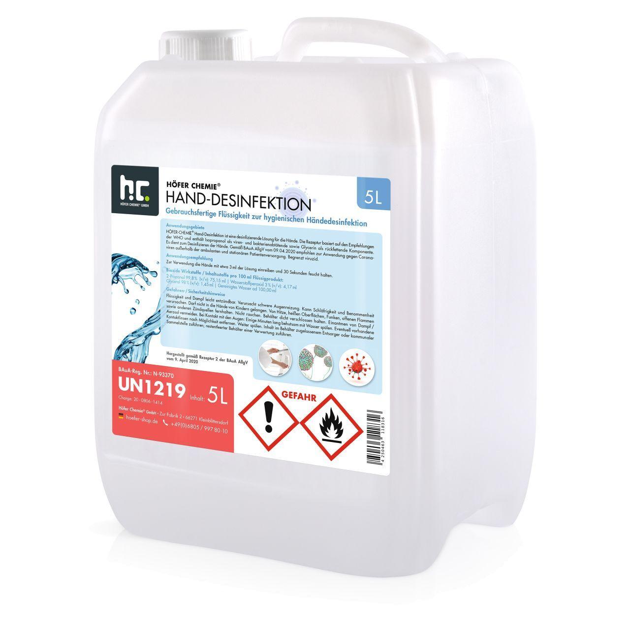 Höfer Chemie GmbH 20 l de désinfectant pour les mains - prêt à l'emploi (4 x 5 l)