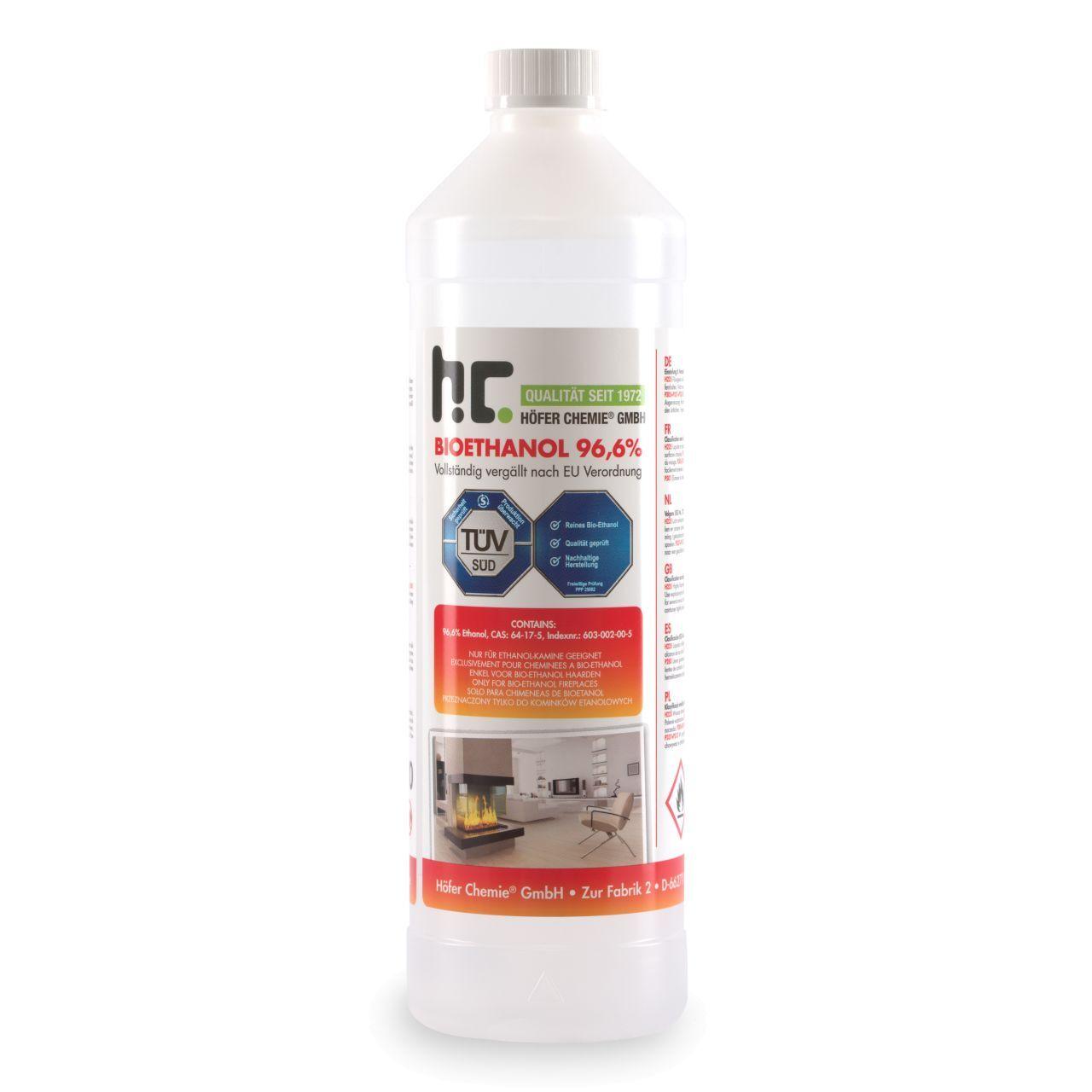 Höfer Chemie 90 l Bioéthanol à 96,6% en bouteilles de 1 l (90 x 1 l)