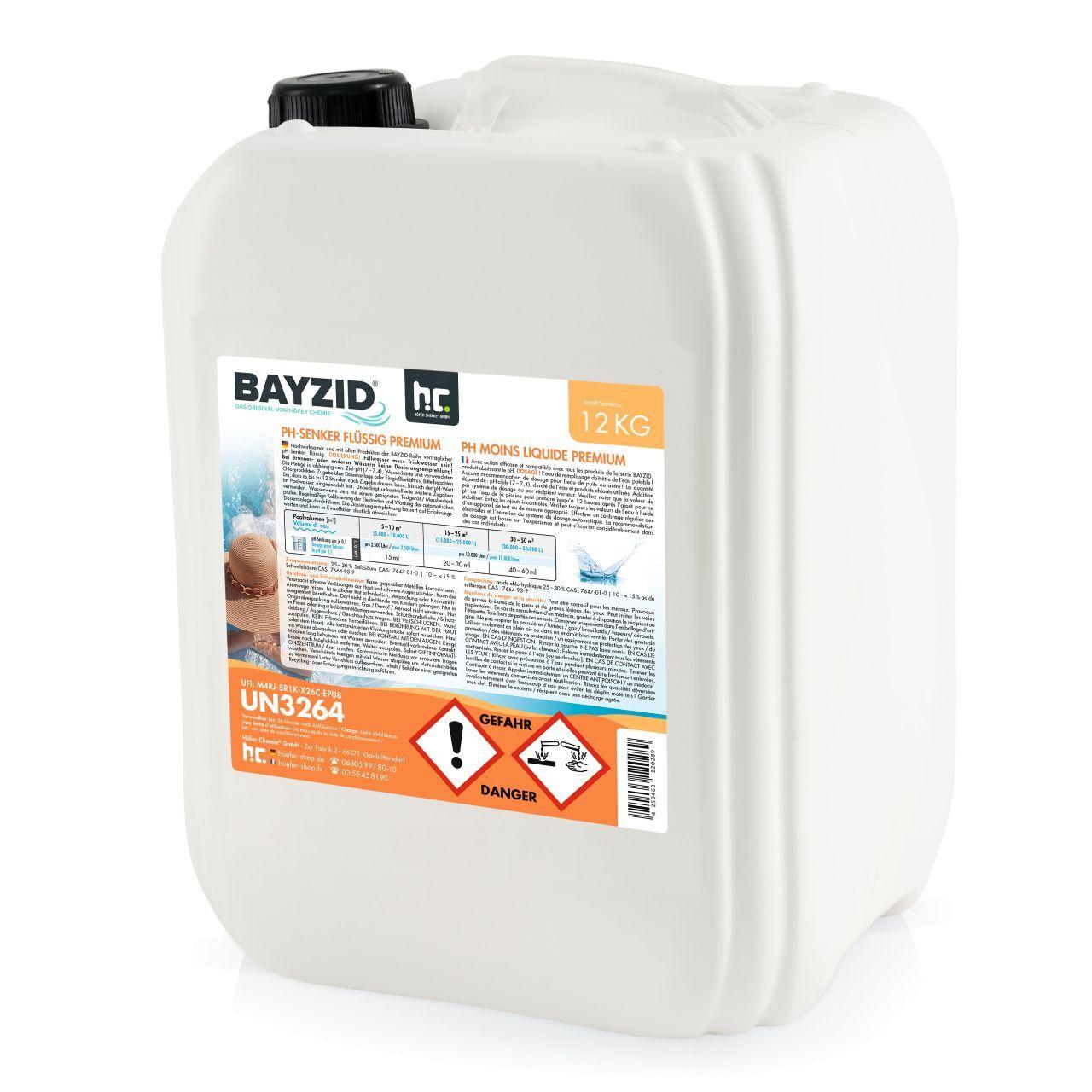 BAYZID 48 kg Höfer Chemie 4 x 12 kg (48 kg) BAYZID pH moins liquide - l'ORIGINAL pou...