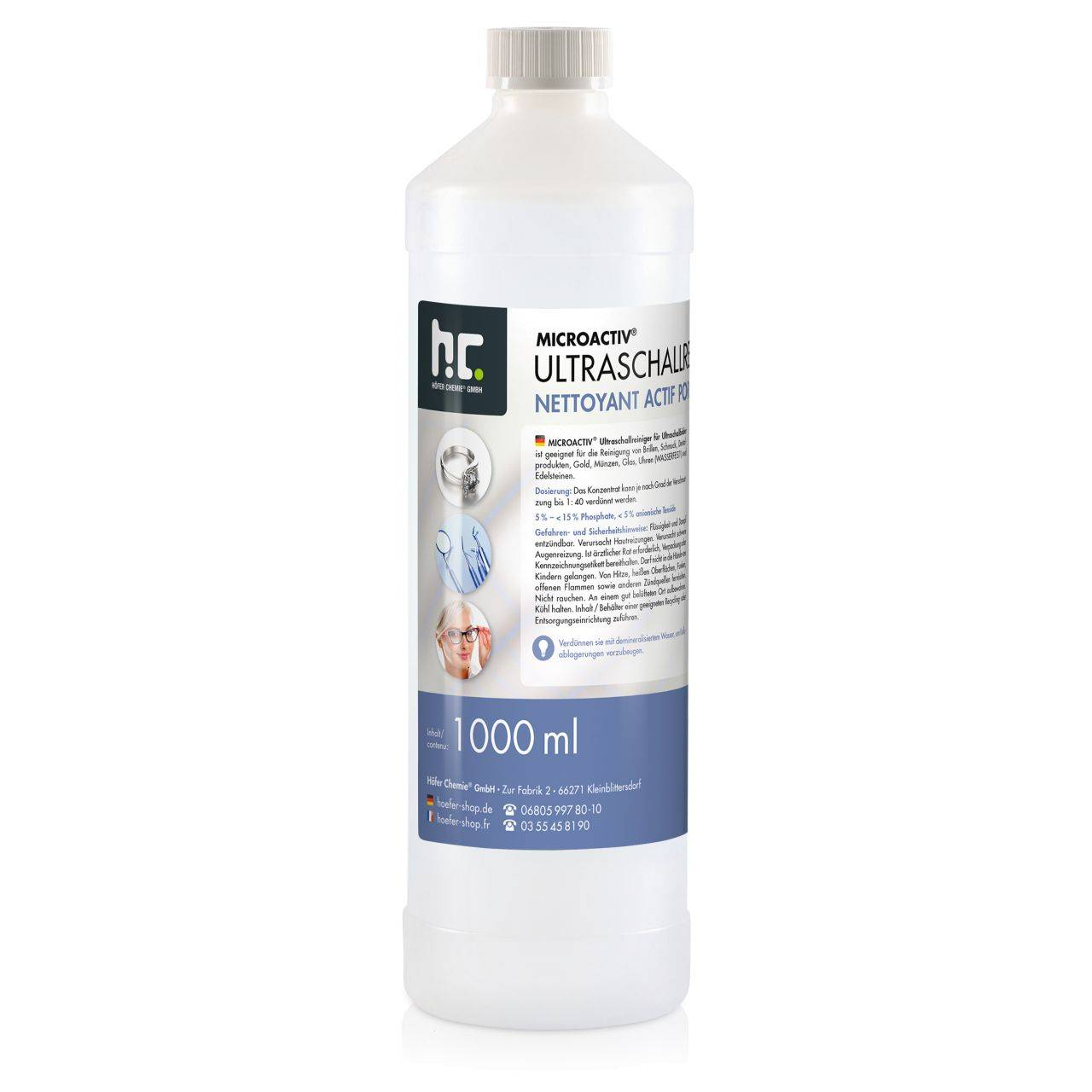 Höfer Chemie 15 l Microactiv® Produit detergent ultrason (15 x 1 l)