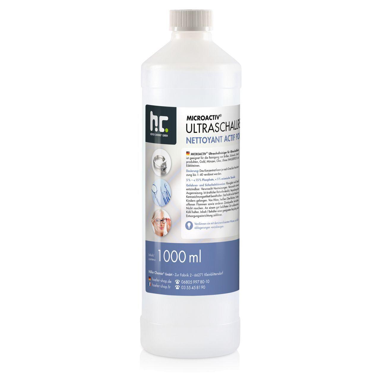 Höfer Chemie 1 l Microactiv® Produit detergent ultrason (1 x 1 l)
