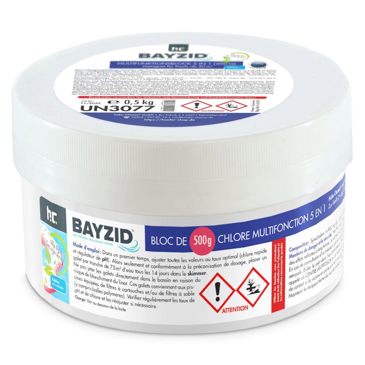 BAYZID 9 kg Bayzid® Chlore multifonction, bloc de 500g (18 x 0.5 kg)