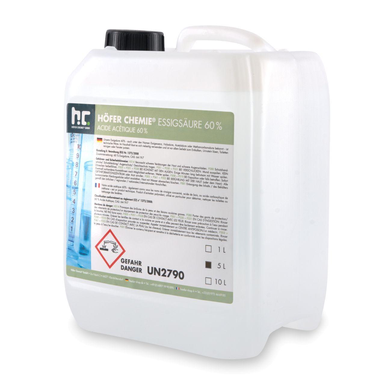 Höfer Chemie 5 l Acide Acétique 60% (1 x 5 l)