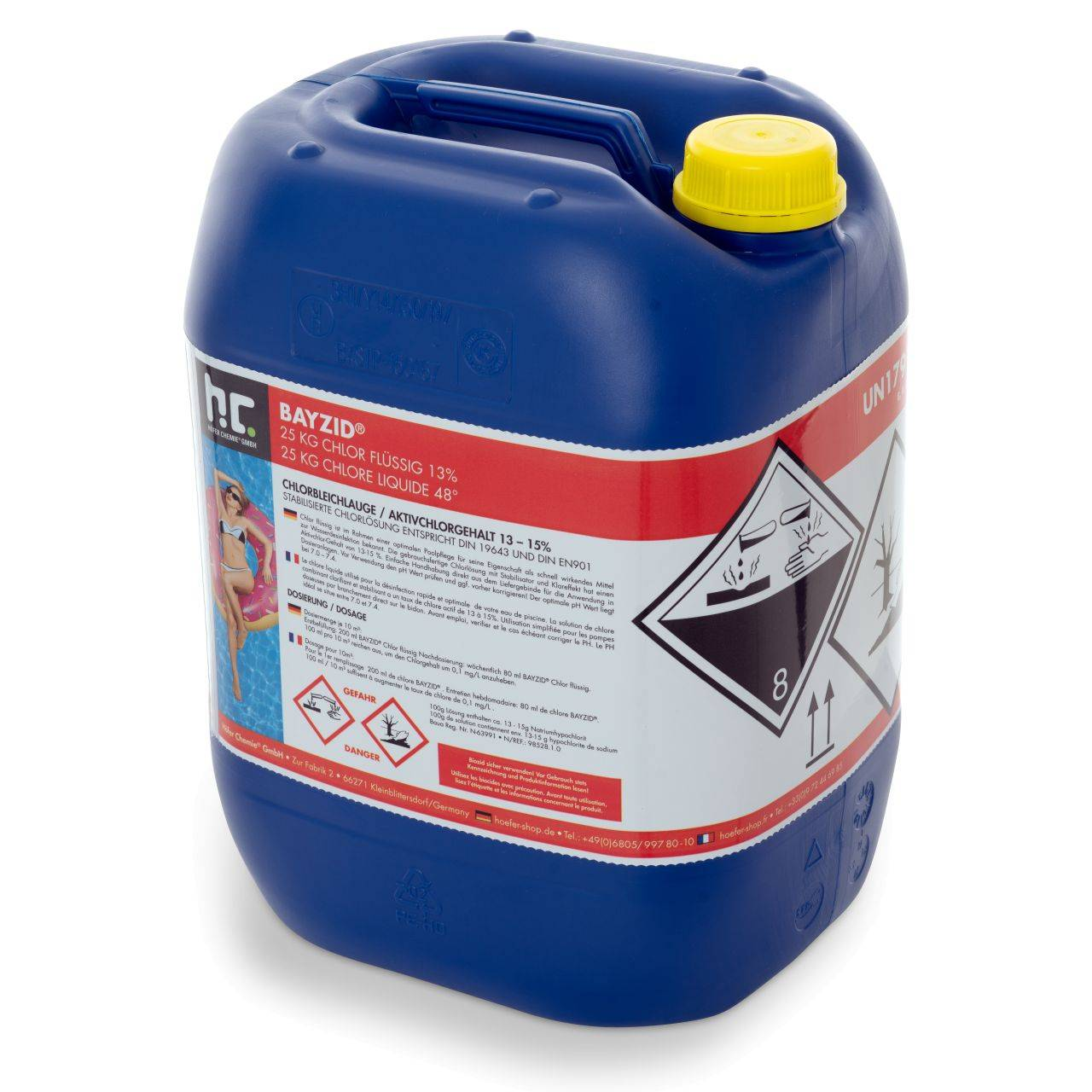 BAYZID 100 kg 20 L) Bayzid® Chlore liquide 48° (4 x 25 kg)