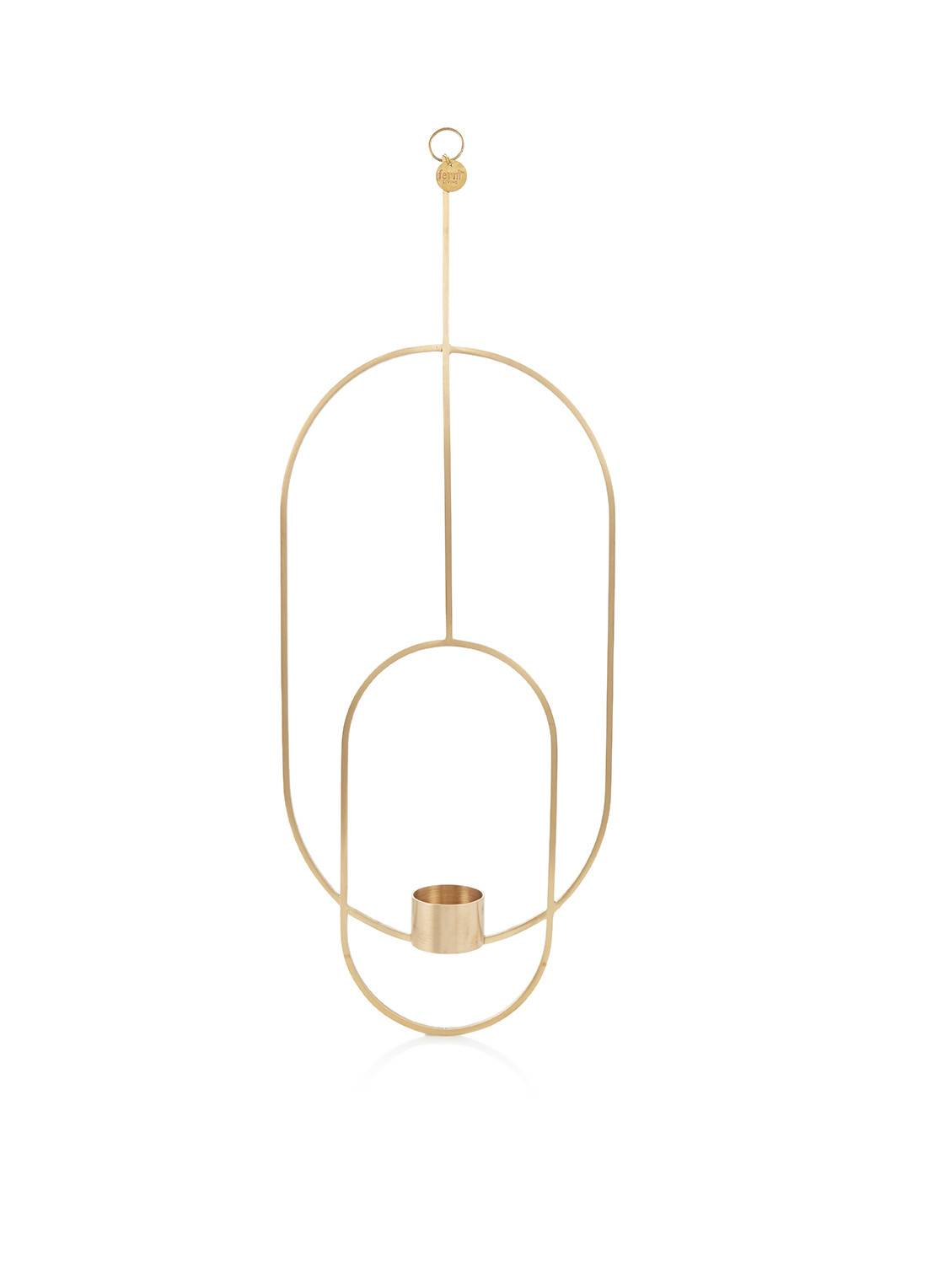 ferm living Photophore suspendu en laiton 50 cm - Or