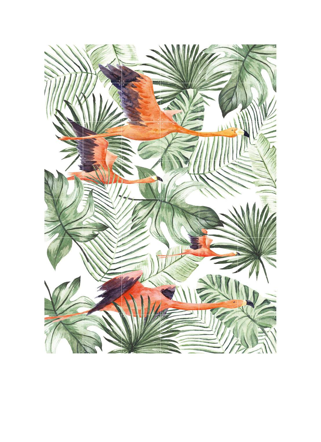 ixxi Décoration murale double face Flamingo Flight & Zebra Palm - Vert