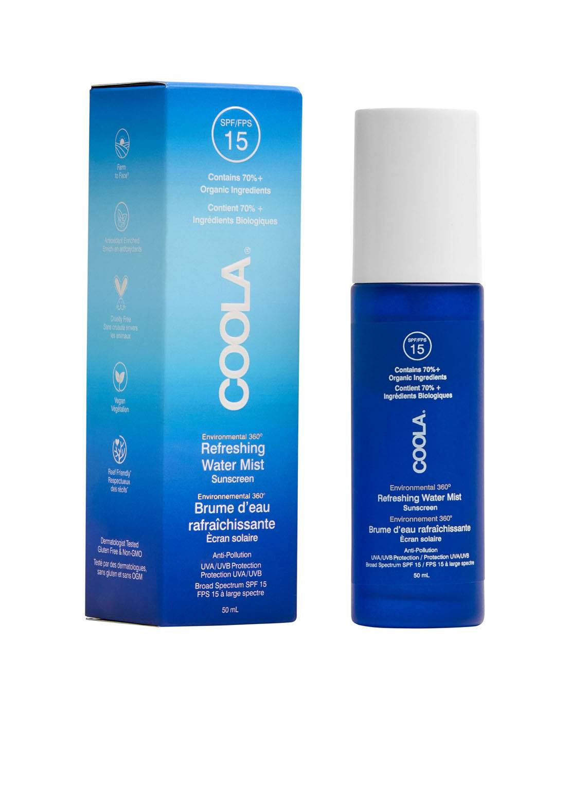 COOLA Full Spectrum 360° Refreshing Water Mist Organic Face Sunscreen SPF15 - crème solaire -