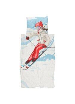 Snurk Ensemble de housse de couette Ski Girl en coton biologique 160TC - y compris les taies d'oreiller