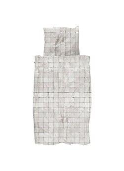 Snurk Ensemble de housse de couette Tiles Pearl White en coton biologique 160TC - y compris les taies d'oreiller