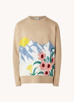 Drôle de Monsieur Pull surdimensionné en laine mélangée Fleurs de Fleurs de Fleurs de Fleurs avec motif tricoté