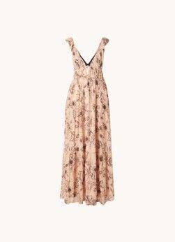Reiss Robe longue en couches Peach à imprimé floral et col en V