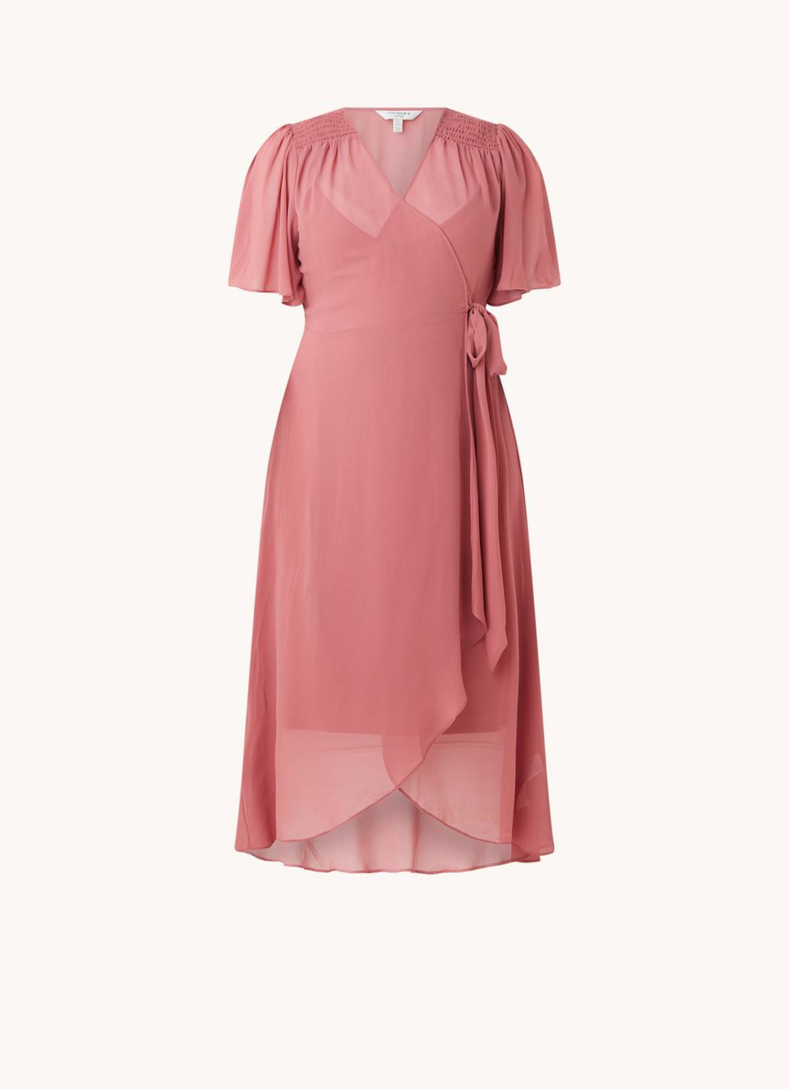 forever new Robe portefeuille Emmaline fluide semi-transparente - Rose saumon