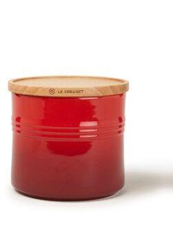 Le Creuset Pot de rangement avec couvercle en bois 13 cm