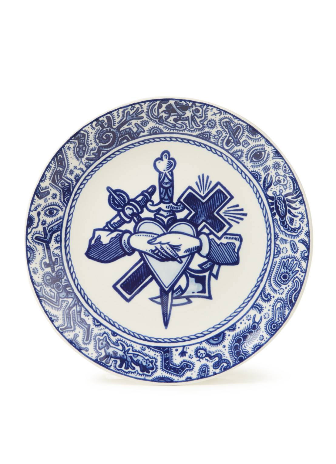 royal delft Assiette petit-déjeuner Schiffmacher Royal Blue Tattoo Faith, Hope & Love 24 cm - Bleu