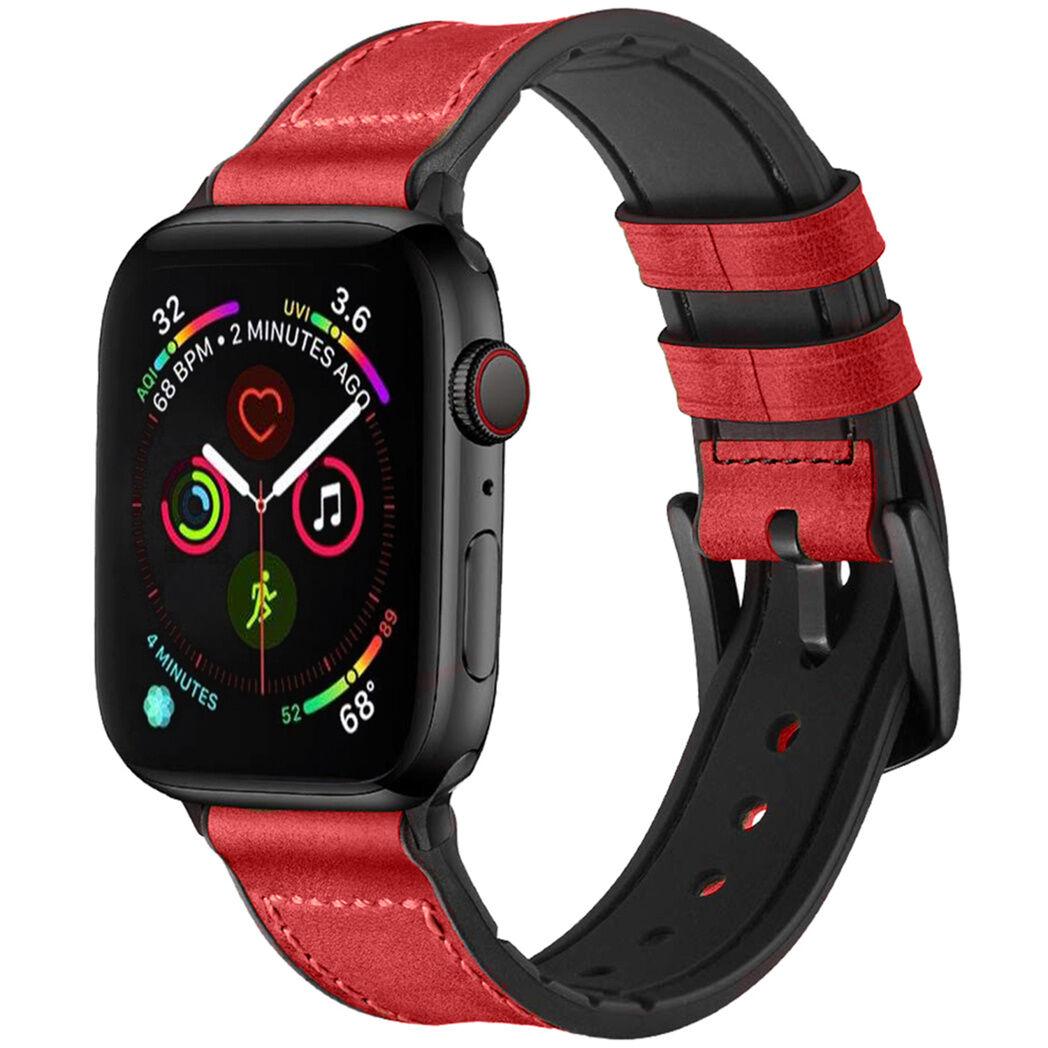 iMoshion Bracelet en cuir véritable pour l'Apple Watch Series 1-6 / SE - 38/40mm - Rouge