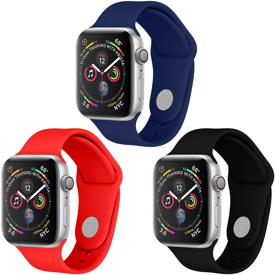 iMoshion Multipack bracelet silicone Apple Watch 1-6 / SE - 42/44mm - Noir / Bleu / Rouge
