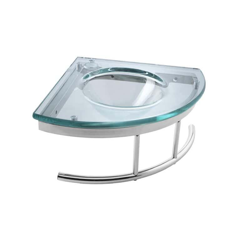 Lapeyre Lave-mains Cristal vert d'eau en verre L.34.5 x l.34.5 avec porte-serviette