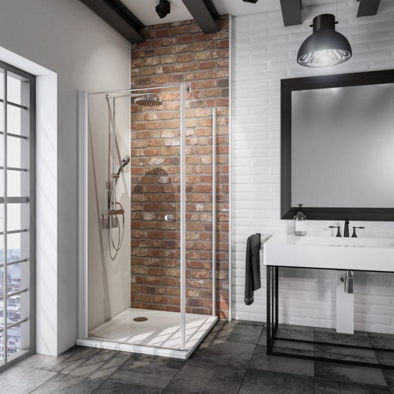 Schulte Porte de douche pivotante DORE H.192 x l.87/89 verre gris anticalcaire noir