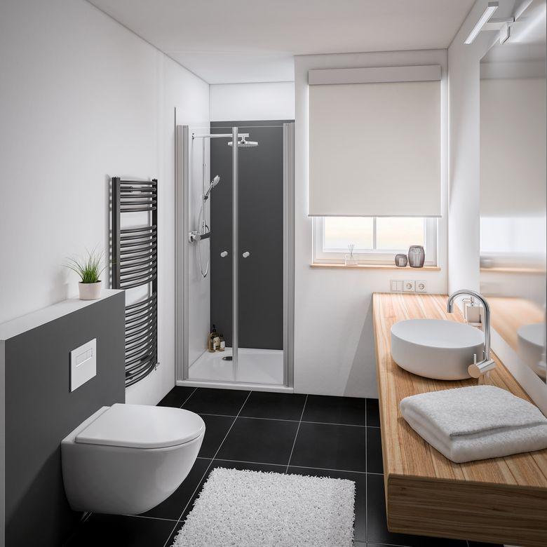 Schulte Porte de douche DORE battante H.192 x l.77/79 verre gris anticalcaire noir