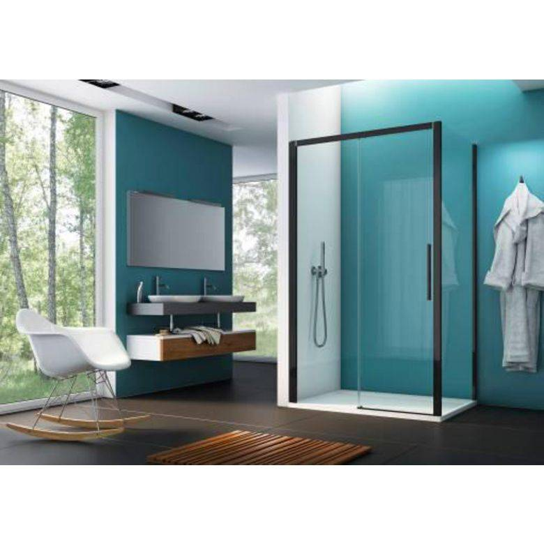 Lapeyre Porte de douche OPURE coulissante H.200 x l.140 gche chrome transparent Timeless